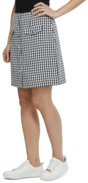 Laundry by Shelli Segal Gingham-Print Button-Front Skirt