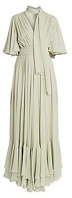 Giambattista Valli Women's Tie-Neck Ruffle Silk Dress