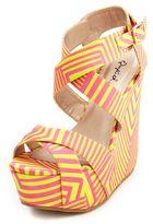 Charlotte Russe Geo Print Satin Wedge Sandal