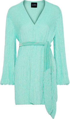 retrofete Gabriela Velvet-trimmed Sequined Chiffon Mini Wrap Dress