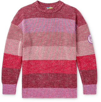 Loewe Eye nature Logo-Appliqued Striped Melange Cotton-Blend Sweater