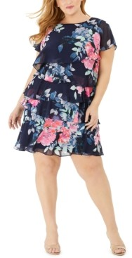Jessica Howard Plus Size Floral Tiered A-Line Dress