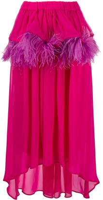 Christian Pellizzari Asymmetric Feather-Trim Silk Skirt