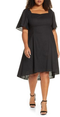 Maree Pour Toi Square Neck High/Low Cotton Dress