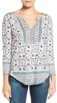 Lucky Brand Floral Woodblock Print Top