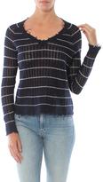 Minnie Rose Distressed Cashmere Striped Sweater