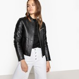 La Redoute Collections Leather Bomber Jacket with Pockets