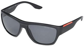 Prada Linea Rossa 0PS08VS (Matte Black/Matte Black/Polar Dark Grey Hydrophobic) Fashion Sunglasses