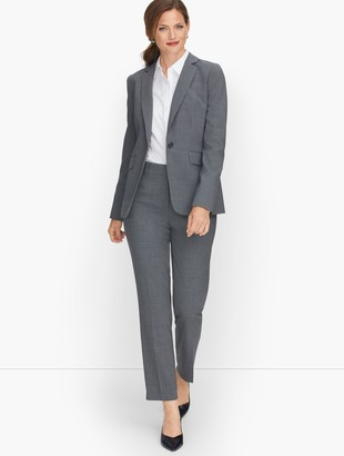 Talbots Luxe Wool Single Button Blazer - Grey Melange