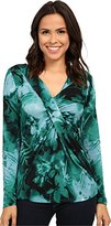 Adrianna Papell Women's Printed V-Neck Long Sleeve Top Gathered Chest