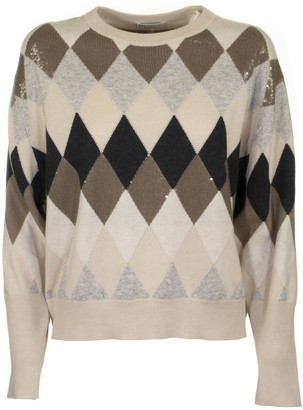 Brunello Cucinelli Virgin Wool, Cashmere And Silk Dazzling Argyle Sweater