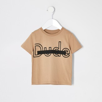River Island Mini boys Beige 'Dude' T-shirt