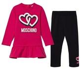 Moschino Kid-Teen Pink Heart Print Dress and Black Leggings Set