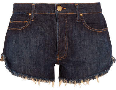 The Great The Cut Off Frayed Denim Shorts - Navy