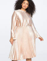 ELOQUII Flared Sleeve Dress with Pleated Skirt
