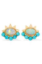 Ileana Makri 18-karat Gold, Turquoise And Opal Earrings - one size