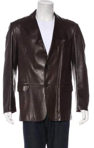 Armani Collezioni Lambskin Two-Button Jacket