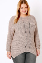 Yours Clothing Dusty Rose Pink Cosy Knit Jumper With V-Neck