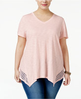 Style&Co. Style & Co Plus Size Crochet-Trim Handkerchief Hem Top, Only at Macy's