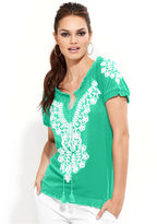 INC International Concepts Top, Puff-Sleeve Embroidered Peasant