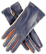 Black Navy Leather Gloves with Multi Tone Detail - Silk Lined