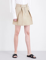 Sandro Buckled A-line cotton-twill skirt