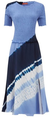 Altuzarra Ayumi Shirred Shibori-dyed Silk Midi Dress - Blue Print