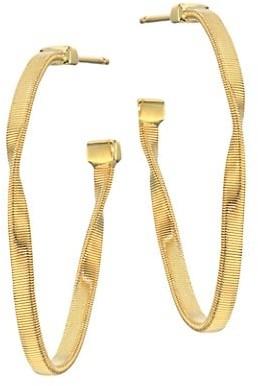 "Marco Bicego Marrakech Onde 18K Yellow Gold Twisted Hoop Earrings/1.25"""