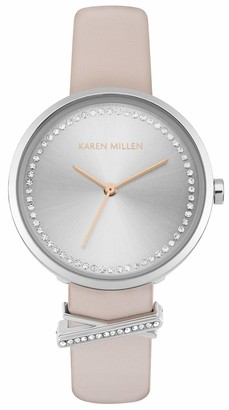 Karen Millen Unisex-Adult Analogue Classic Quartz Watch with Leather Strap KM174P