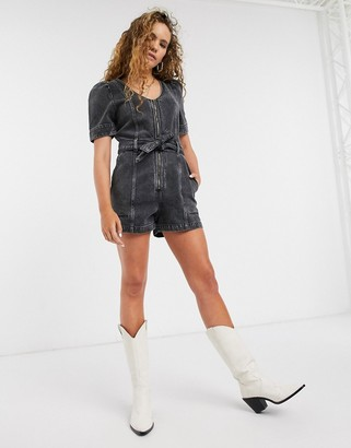 And other stories & acid wash denim playsuit in black