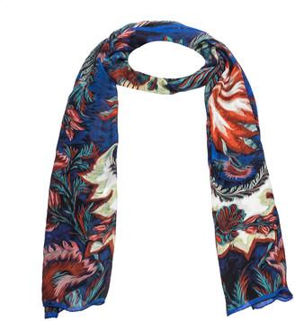 Roberto Cavalli Blue Abstract Floral Print Silk Stole