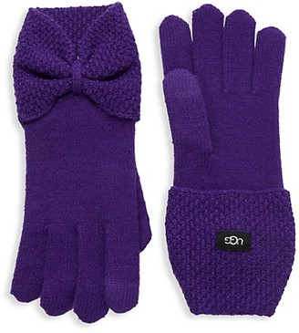 UGG Bow-Detailed Knit Gloves