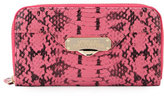 Versace Snake-Embossed Leather Continental Wallet, Pink Snake