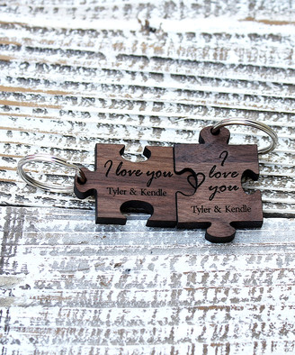Stamp Out Online Key Chains walnut - 'I Love You' Personalized Puzzle Key Chain - Set of Two