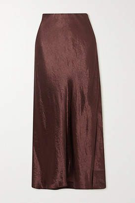 Vince Hammered-satin Midi Skirt - Chocolate