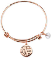 Unwritten Message Charm Bangle Bracelet in Rose Gold-Tone Stainless Steel with Silver-Plated Charms