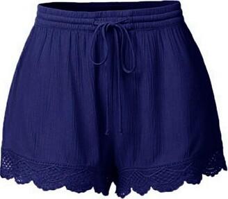 Tuduz Pants Shorts Women TUDUZ Ladies Plus Size Lace Stitching Drawstring Elastic Waist Shorts Yoga Sport Pants Summer Beach Hot Pants Leggings Trousers(Orange XXL)