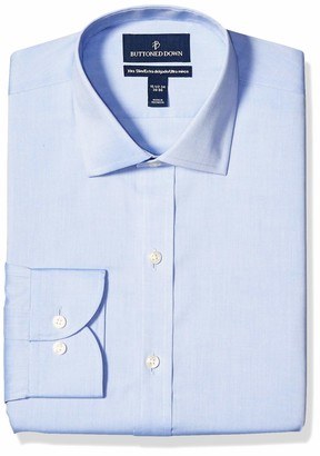 """Buttoned Down Xtra-slim Fit Solid Non-iron Dress Shirt Blue 15.5"""" Neck 35"""" Sleeve"""