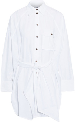 Ganni Belted Cotton-poplin Tunic