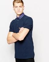 Lyle & Scott Polo Shirt With Woven Shirt Collar - Blue