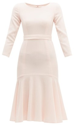 Goat Iris Fluted Wool-crepe Midi Dress - Womens - Light Pink