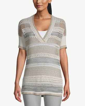 Chico's Short-Sleeve Striped Open-Weave Tunic Sweater