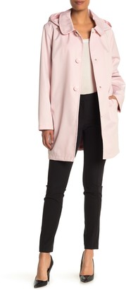 Kate Spade Solid Water-Resistant Hooded Snap Rain Jacket