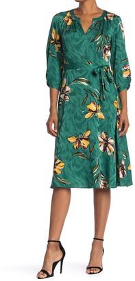 Donna Morgan Floral Print Split Neck Midi Dress