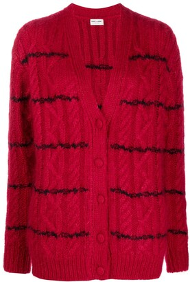 Saint Laurent striped V-neck cardigan