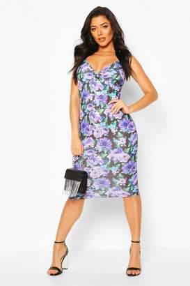 boohoo Floral Wrap Midi Dress