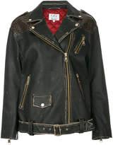 Tommy Hilfiger leopard print panel biker jacket
