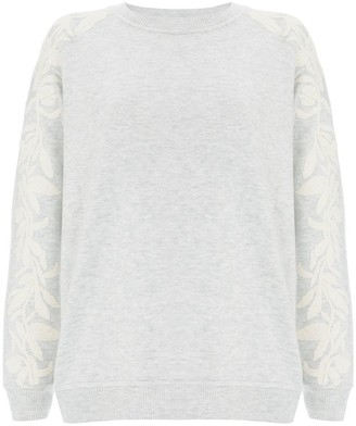 Mint Velvet Embroidered Long Sleeve Jumper, Light Grey