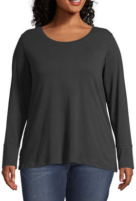 A.N.A Plus-Womens Crew Neck Long Sleeve T-Shirt