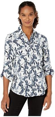 Foxcroft Zoey Dragonflies Print (Blue Jean) Women's Clothing